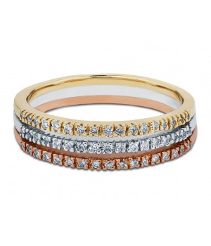 The Path Three Tone Diamond Wedding Band in 18k Three Tone Gold DRB1003