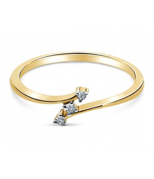 Classic Three Stone Diamond Ring in 18k Yellow Gold DRC1001