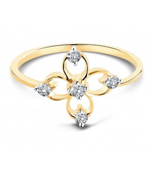 Classic Floral Diamond Ring in 18k Yellow Gold DRC1003