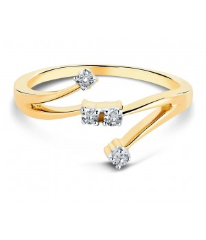 Elegant Four Stone Diamond Ring in 18k Yellow Gold DRC1004