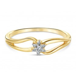 Elegant Seven Stone Flower Diamond Ring in 18k Yellow Gold DRC1005