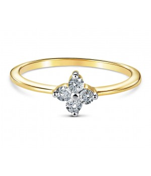 Elegant Four Stone Prong Diamond Ring in 18k Yellow Gold DRC1006