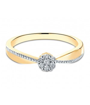 Beautiful 7 Stone Cluster Two Tone Diamond Ring in 18k Yellow Gold