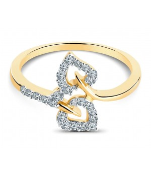 Beautiful Twin Heart Diamond Ring in 18k Yellow Gold