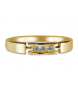 Trendy Three Stone Diamond Ring in 18k Yellow Gold DRC1009