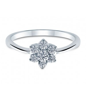 Elegant Seven Stone Flower Diamond Ring in 18k White Gold DRC1011