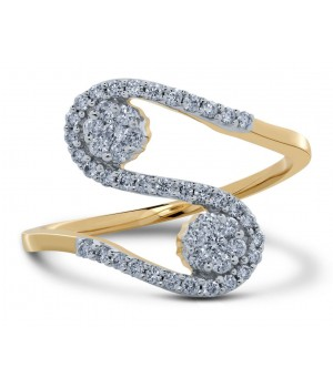 Beautiful Twin Cluster Diamond Ring in 18k Yellow Gold