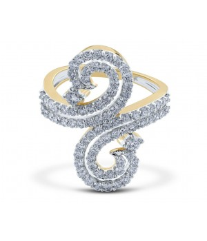 Beautiful Mirror Diamond Ring in 18k Yellow Gold