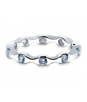 Elegant Ten Stone Diamond Ring in 18k White Gold DRC1021