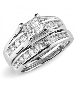 18k White Gold Diamond Engagement Ring Set DRES5001