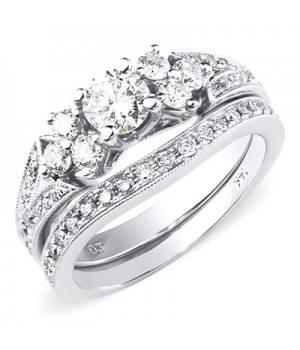 18k White Gold Diamond Engagement Ring Set DRES5002