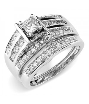 18k White Gold Diamond Engagement Ring Set DRES5003