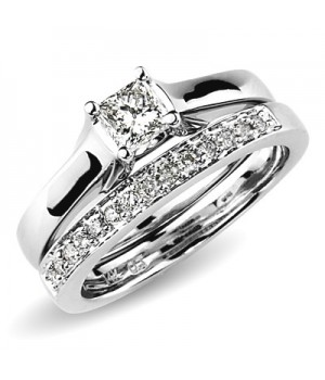 18k White Gold Diamond Engagement Ring Set DRES5004