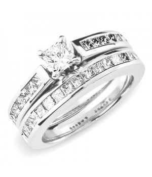 18k White Gold Diamond Engagement Ring Set DRES5005