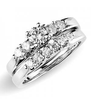 18k White Gold Diamond Engagement Ring Set DRES5006