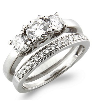 18k White Gold Diamond Engagement Ring Set DRES5007