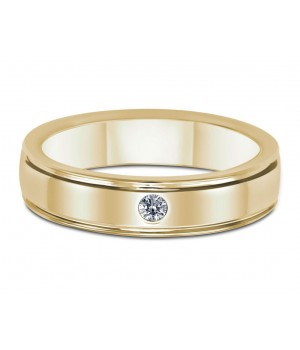 One Stone Men's Diamond Ring in 18k Yellow Gold DRM1003