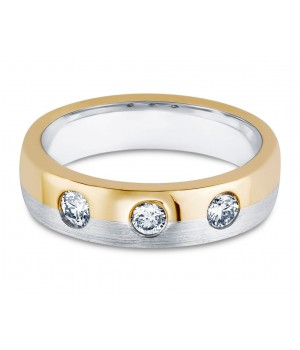 Three Stone Men's Diamond Ring in 18k White and Yellow Gold DRM1004