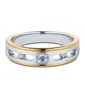 Elegant Three Stone Men's Diamond Ring in 18k White and Yellow Gold DRM1005