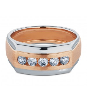 Elegant Five Stone Men's Diamond Ring in 18k White and Rose Gold