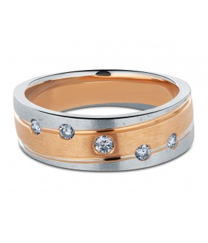 Heavy Five Stone Men's Diamond Ring in 18k White and Rose Gold