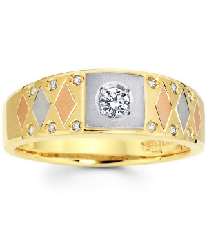Elegant Men's Tri Color Diamond Ring in 18k Gold DRM5001