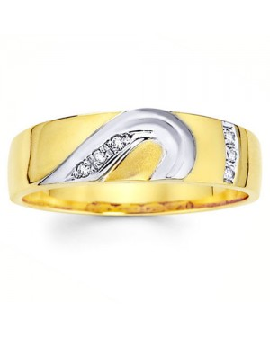 18k White and Yellow Gold Diamond Ring DRM5005