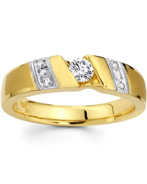 18k White and Yellow Gold Diamond Ring DRM5006