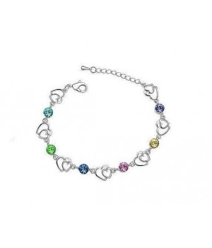 18K White Gold Plated Beautiful Multi Heart Bracelet FJB1001