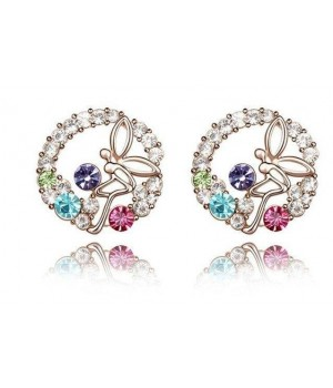 18KGP Beautiful Angel Multi Color Rhinestone Crystals Earrings FJE1001