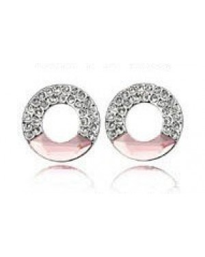 Platinium or Rose Gold Plated Pink with Small White Crystals Earrings FJE1005-1