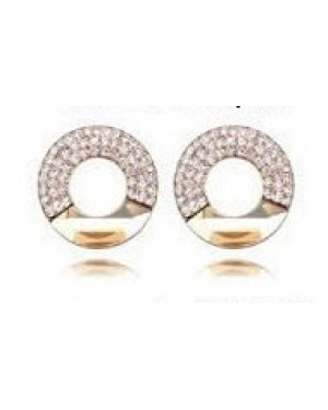Platinium or Rose Gold Plated Gold with Small White Crystals Earrings FJE1005-2