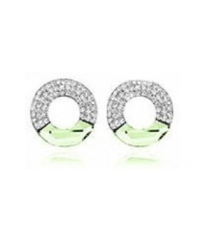 Platinium or Rose Gold Plated Light Green with Small White Crystals Earrings FJE1005-3