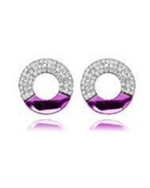 Platinium or Rose Gold Plated Purple with Small White Crystals Earrings FJE1005-4