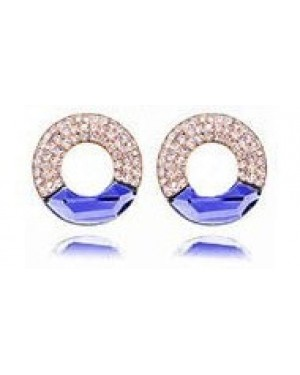 Rose Gold Plated Blue with Small White Crystals Earrings FJE1005-5