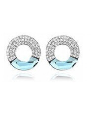 Platinium Plated Light Blue with Small White Crystals Earrings FJE1005-6