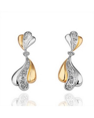 18K Two Tone Plated  Beautiful Rhinestone Crystals Earrings FJE1006