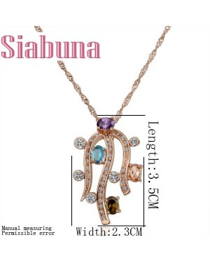 18K Rose Gold Plated Multi Color Crystal Necklace FJN1002