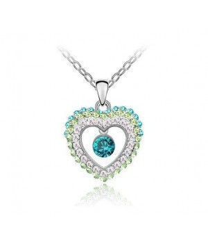 Platinum Plated Beautiful Crystal Heart Necklace FJN1003