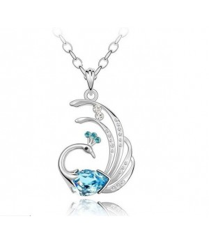 Platinium Plated Pheonix Crystal Necklace Either Blue or Orange Main Stone Color FJN1006