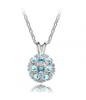 Platinum Plated Crystal Ball Design Necklace Either Blue, Purple or Green Stone Color FJE1007
