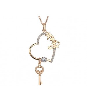 18K Yellow Gold Plated Love Heart and Key Crystal Necklace FJN1010