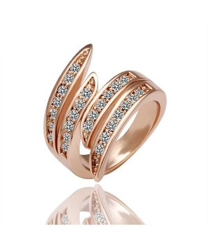 18K Rose Gold Plated High Quality Crystal Ring Size 8 FJR1001
