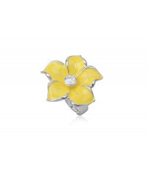 Yellow Enamel Ring Nickel Free Metal