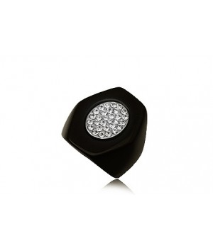 High Quality Resin Ring with White Rhinestone Crystals FJR5003-1