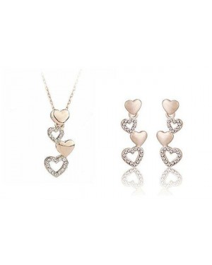 18K Rose Gold Plated Beautiful Heart Drop Set FJS1001
