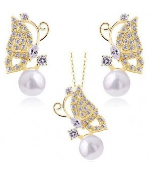Trendy Butterfly Style Set With High Finish Artificial Pearl and AU Crystals FJS1002