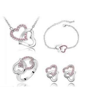 Platinum Plated Beautiful Twin Heart Set Available in Pink Crystalsl FJS1005