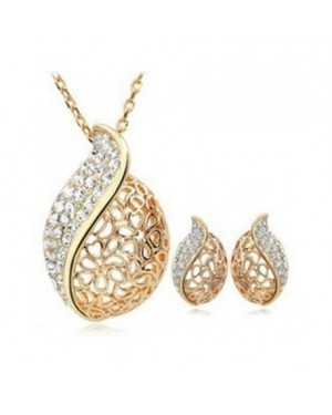 18K Yellow Gold Plated Beautiful Leaf Style Set FJS1007