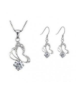 Platinum Plated Beautiful Butterfly Style Set made with AU Crystal FJS1008